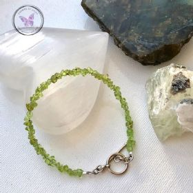 Peridot Chip Healing Bracelet with Silver Toggle Clasp